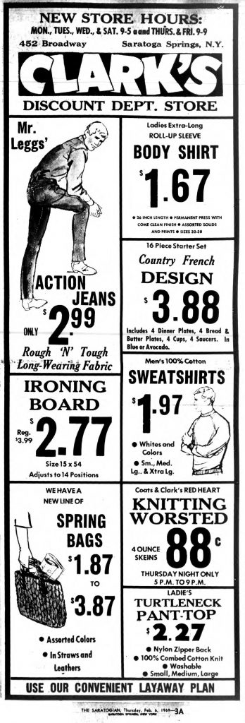 clark's department store saratoga springs ny ad in 1969