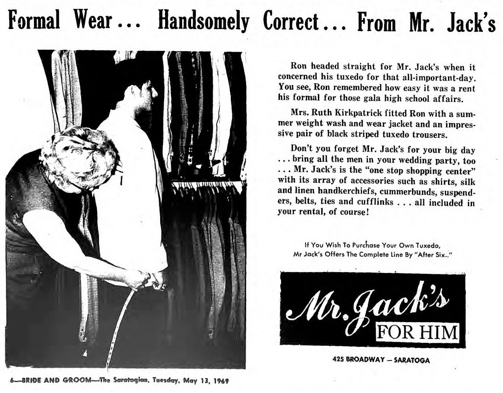 Ad for Mr. Jack's on broadway in 1969