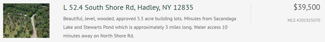 Lot 52.3 south shore road hadley ny 12835