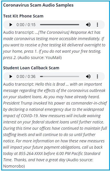 covid-19 scams robocalls