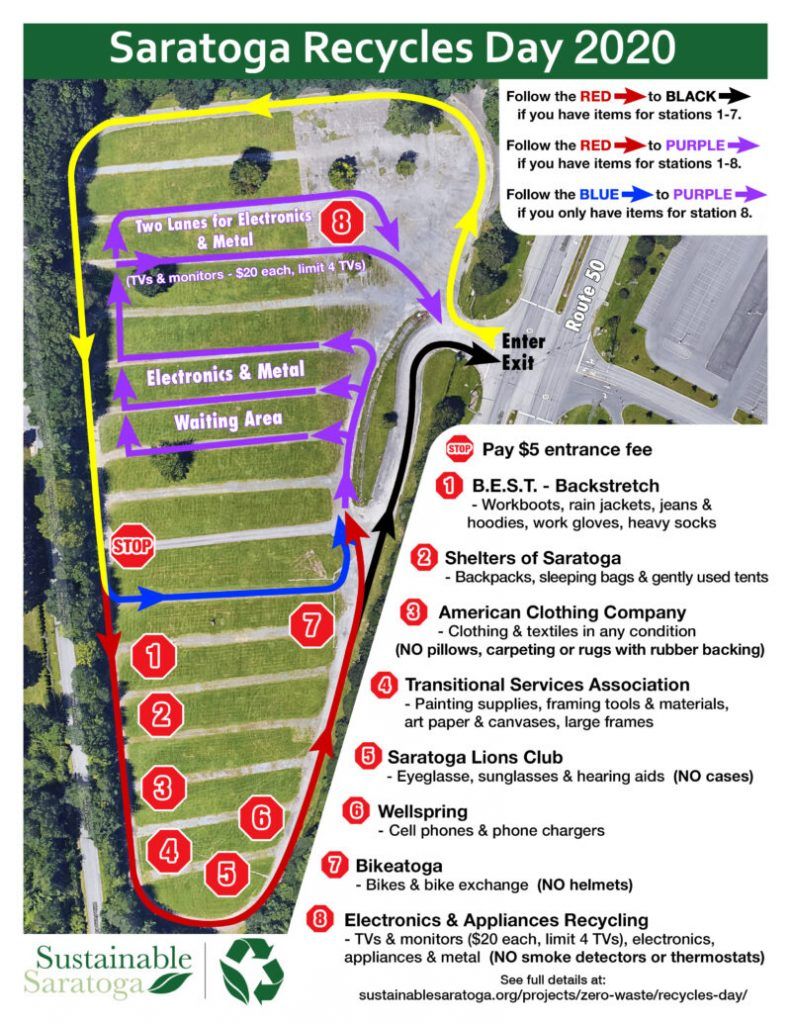 saratoga recycles day 2020 map