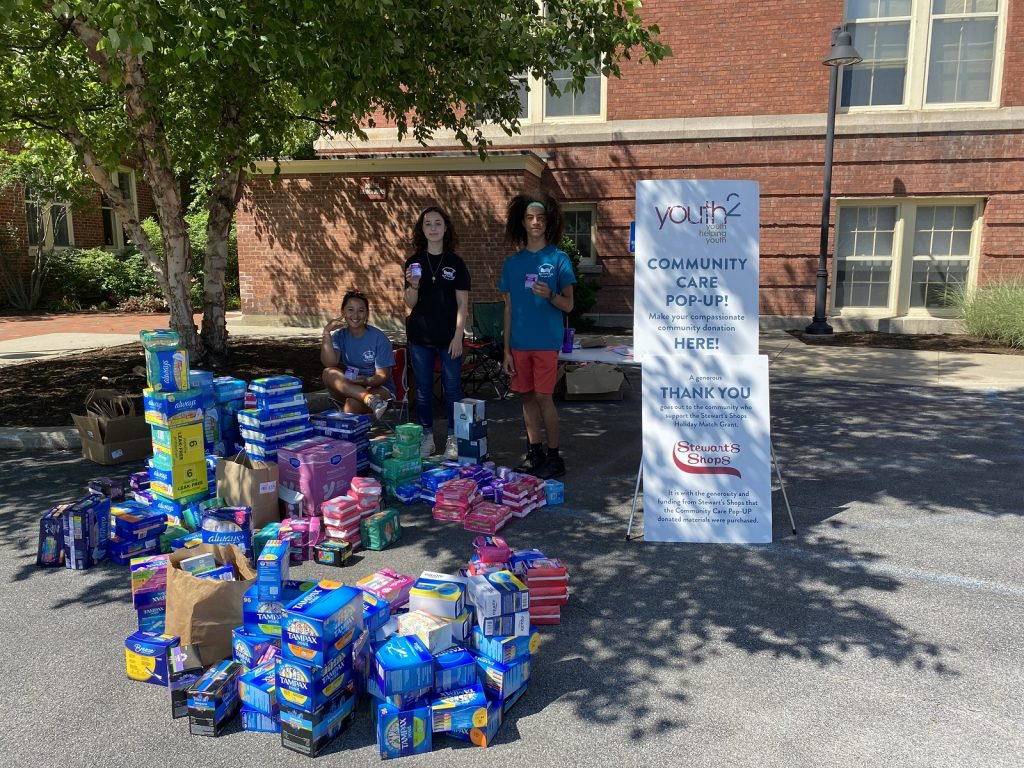 Community Care Pop-UP Event- Sanitary Hygiene Supplies Drive Olivia Venditti, Luna McDermott- Youth Leader, Andre Culpepper-Wehr